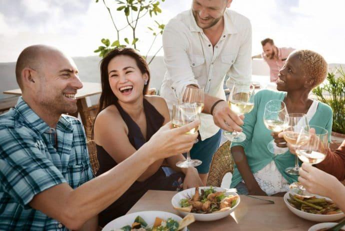Group enjoying food and drinks